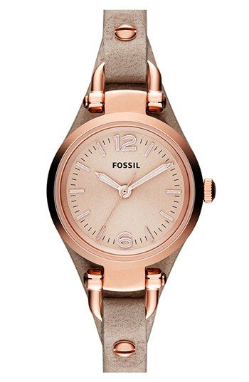 Fossil 'Small Georgia' Leather Strap Watch, 26mm | Nordstrom