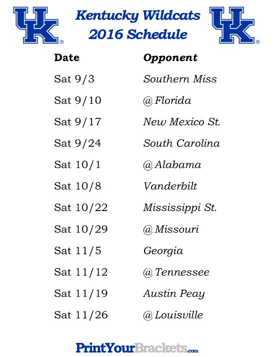 Printable Kentucky Wildcats Football Schedule 2016                              …