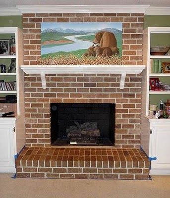 In case you regret painting your fireplace...here's how to add faux brick look to white painted fire place.