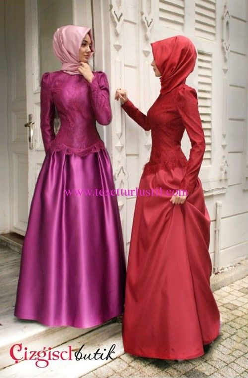 Çizgisel Butik Kabarık Etekli Tesettür Abiye-Nişan Elbisesi