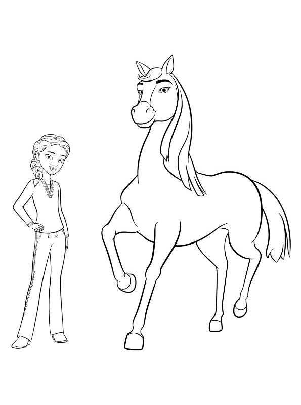Coloring Page Spirit Riding Free Chica Linda Pru Free Coloring Pages Horse Coloring Pages Cartoon Coloring Pages