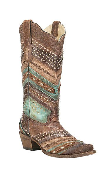 Corral Boot Company Women's Brown with Multi Pattern Embroidery and Studs Western Snip Toe Boots | Cavender's