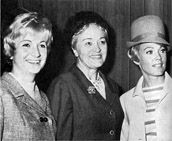 """Pat Priest, right, Alpha Chi (UCLA); actress in """"The Munsters"""" TV show of the 1960s as the pretty blonde cousin, Marilyn. Legacy of Ivy Baker Priest (Stevens), Alpha Chi, second female Treasurer of the United States under President Dwight D. Eisenhower, pictured (center) with her two daughters, Nancy and Pat Priest. Pat also starred in the Elvis Presley film """"Easy Come, Easy Go"""" (1967)."""