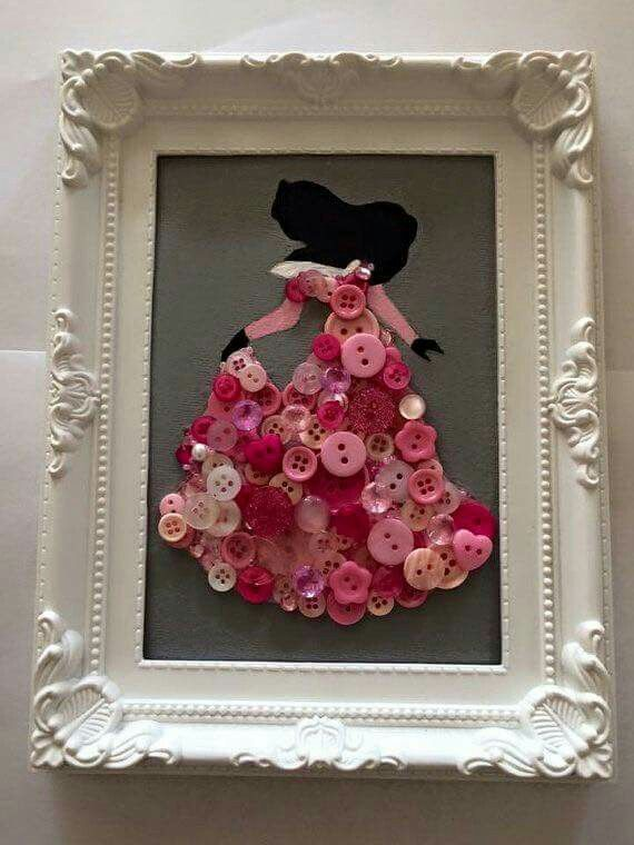 Princess Aurora made from buttons