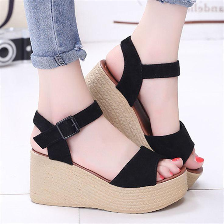 $9.83 (Buy here: https://alitems.com/g/1e8d114494ebda23ff8b16525dc3e8/?i=5&ulp=https%3A%2F%2Fwww.aliexpress.com%2Fitem%2FFahion-Women-Sandals-Flock-Peep-Toe-Buckle-Strap-Wedge-Shoes-Summer-Solid-High-Heels-Breathable-Female%2F32691786176.html ) Fahion Women Sandals Flock Peep Toe Buckle Strap Wedge Shoes Summer Solid High Heels Breathable Female Sandals Scarpe Donna for just $9.83
