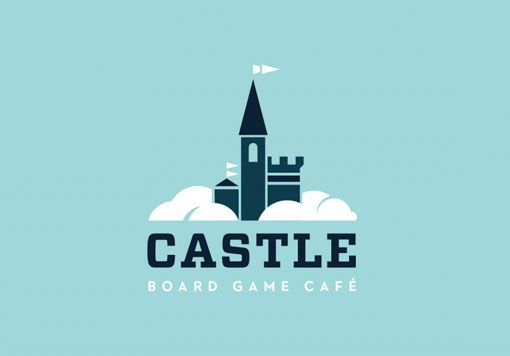 Castle - Board game cafe logo - blue and white logo - castle in the clouds