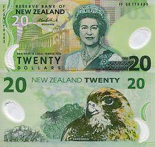 NEW ZEALAND 20 Dollars Banknote World Money Currency Polymer Pick p-187b Bill