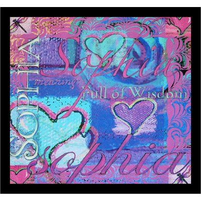 """Buy Art For Less 'Sophia Meaning Full of Wisdom Hearts' Framed Painting Print Size: 18"""" H x 18"""" W x 1"""" D"""