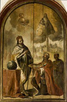 Tabla que muestra a Axataf entregando las llaves de Sevilla a Fernando III frente a una de las puertas de la ciudad, en una obra de alrededor de 1750. El autor se tomó la licencia de hacer figurar la Catedral tal y como los cristianos la construyeron. El cuadro muestra también a la Virgen de los Reyes en los cielos en el momento de la entrega.