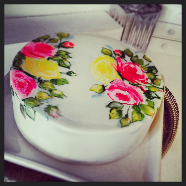 #roses #painted #cake