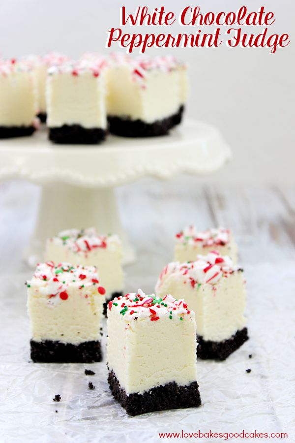 This White Chocolate Peppermint Fudge is a decadent, but easy, fudge recipe perfect for the Winter season. It also makes a great gift idea!
