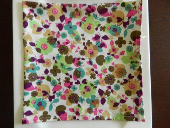Floral Dinner Napkins. Set of 6.  Purple Teal by BabyGigglesOnline