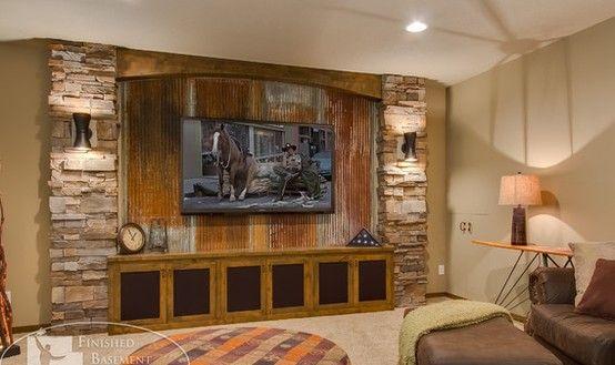 Corrugated TV Room - Basement Idea