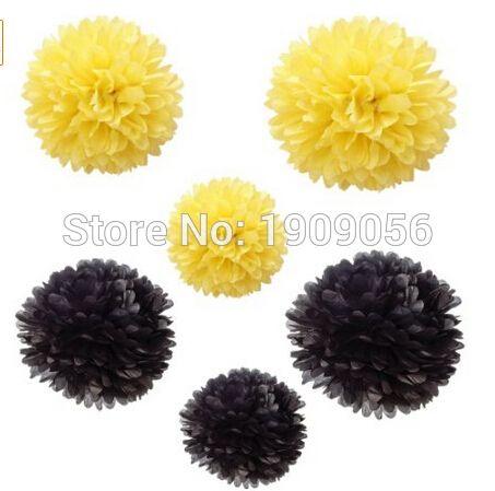 Alibaba グループ | AliExpress.comの イベント & パーティー用品 からの 偉大な誕生日のための、 結婚式の、 ベビーシャワーの洗礼、 の台所の茶、 保育園や他のお祝いの装飾。紙ポンポンまみれ紙を使用して高はハンドメイド色: 黒、 黄色。 12個合計で黄色( 2x8inch+2x10inch+2x14inch) + 中の 黄黒12個混ティッシュペーパー装飾的な花pompoms花嫁のベビーシャワーの結婚式のセンターピース
