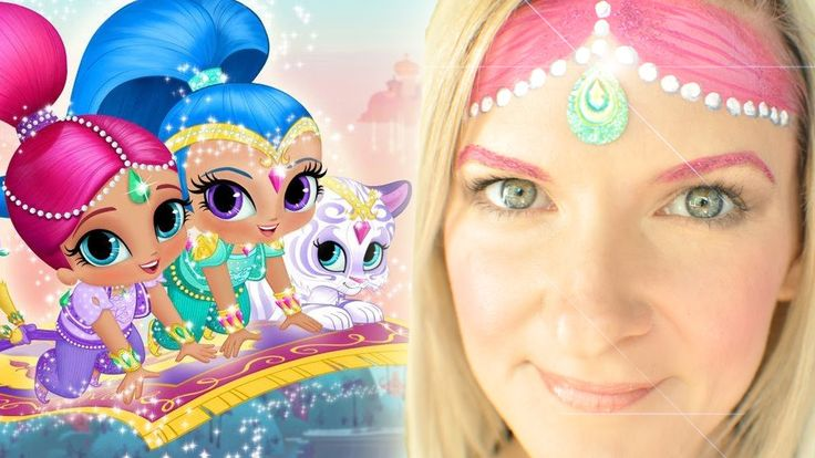Shimmer and Shine Face Painting Tutorial - I bought a cheap dollar store pink blush for the cheeks since I don't have this brand of face paint.