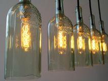 "Vintage Flaschenlampe Hängelampe ""Lampada cinque""_____________Lamp, Lampe, Fabric Cable, Hängelampe, pendant, industrial, vintage,  Textilkabel, Weinflasche, Flaschenlampe, Bottle lamp, bottle,"