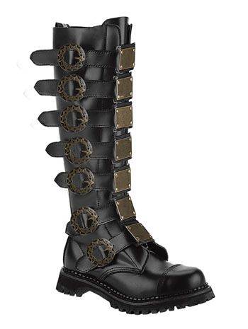 Mens Black Leather Steampunk Boot