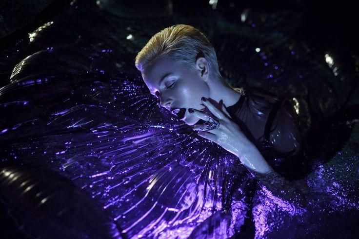Photography: Chris Fatseas Model: Kelly Hockey Makeup: Carolina Rojas water, beauty, lighting, purples, black, dewy, skin