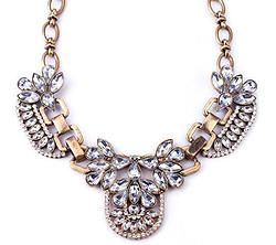 Crystal Flower Chain Pendant Necklace