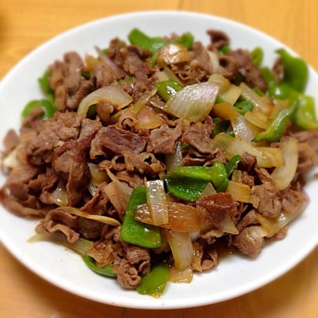 でも七味なかったので辛くない - 9件のもぐもぐ - 牛肉ピーマン玉ねぎの甘辛炒め by 4mada3gn