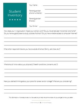 Student Inventory: Grades 6-8 (Editable)