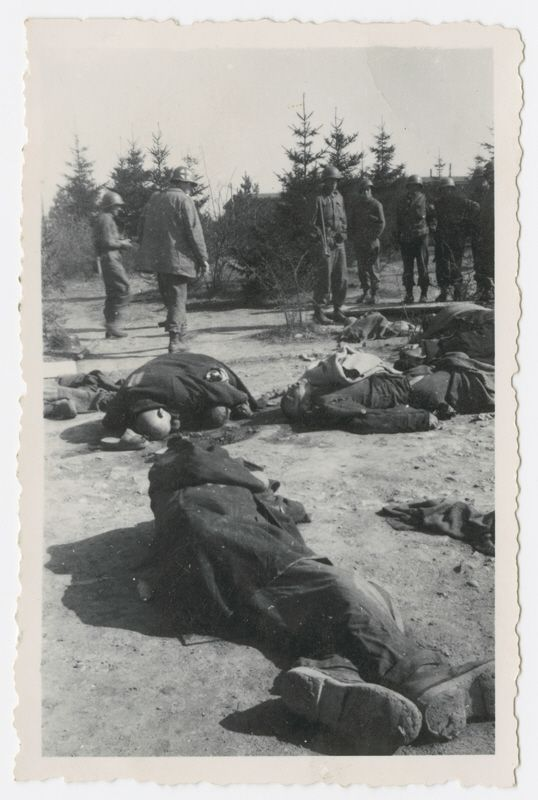 American soldiers look at corpses lying in an open field in the Ohrdruf concentration camp.   April 1945 World War Two