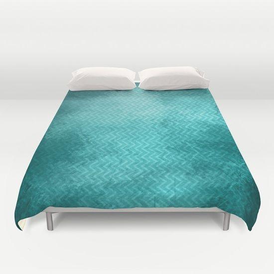 Textured limpet blue chevron pattern by Wendy Townrow texture, textured, limpet blue, blue, teal, chevron, pattern, zig-zag, fresh, modern, unique, cool, water, bedroom, bedroom decor, decor, duvet, duvet cover, home decor