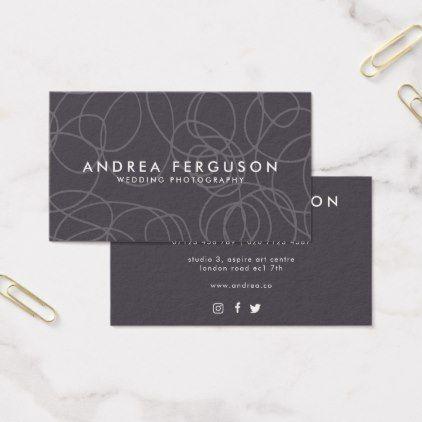 Gray Professional Swirl Pattern Business Card - chic design idea diy elegant beautiful stylish modern exclusive trendy