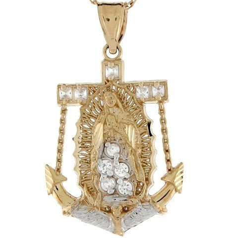 10k Two Toned Real Gold Virgin Mary Guadalupe CZ Anchor Charm Pendant Jewelry Liquidation. $140.73. Made with Real 10k Gold!. Made in USA!