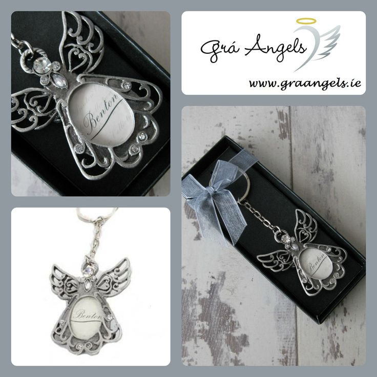 This is a beautiful Angel pewter key ring that would make an adorable gift for a friend or family member. This key ring is extra special as it allows you to put photo to in the oval space.  The dimensions for this Angel key ring are 12cm in height x 5cm in width. http://graangels.ie/Photo-Angel-Key-Ring-in-a-Giftbox
