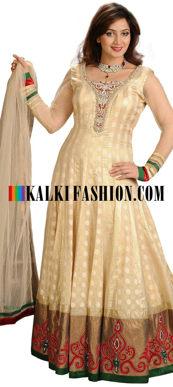 Buy Online from the link below. We ship worldwide (Free Shipping over US$100) http://www.kalkifashion.com/beige-anarkali-suit-featuring-in-hand-work-and-stone.html
