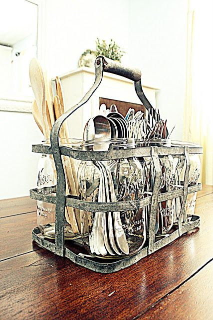 Cute silverware organizer. I found a very similar holder at Target 6/19