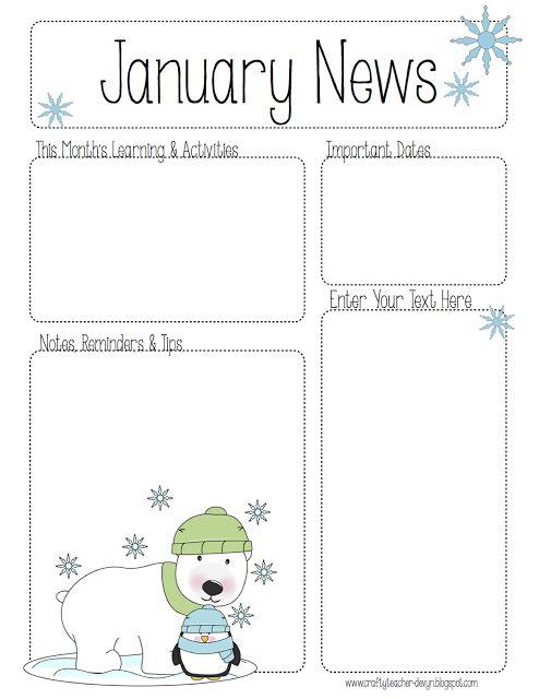 January Newsletter for ALL Grades! Preschool, Pre-K