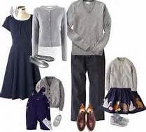 Navy and grey looks classy and will stand out in fall colors...maybe add a stand out necklace for mom or headband for girl