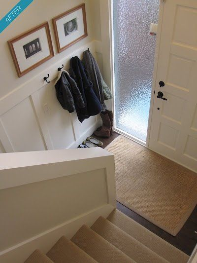 decorating a bi level home | split level entrance – love the wainscoting!