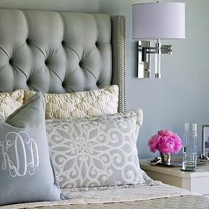 Cream Velvet Tufted Headboard - Contemporary - bedroom - Lisa Sherry Interieurs