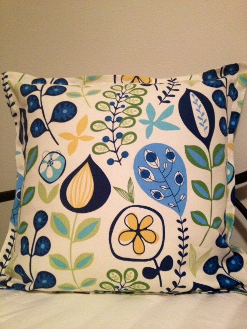 White Blue Green Yellow fun floral pattern Decorative Pillow Cover 26 x 26 inch with Gorgeous ...