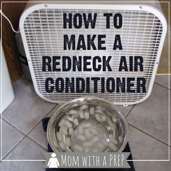Put a metal bowl filled with ice water in front of a fan. Redneck Air Conditioner!