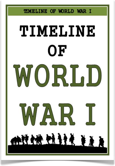 Timeline of World War One - Treetop Displays - A set of 26 A4 posters showing a timeline of World War One. Posters show the key events that took place during the time. Visual and informative, this set that will prove to be an excellent aid for children learning about this topic! Visit our website for more information and for other printable classroom resources by clicking on the provided links. Designed by teachers for Early Years (EYFS), Key Stage 1 (KS1) and Key Stage 2 (KS2).