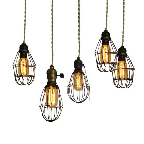Vintage cage lights industrial metals and edison bulbs - Diy hanging light fixtures ...