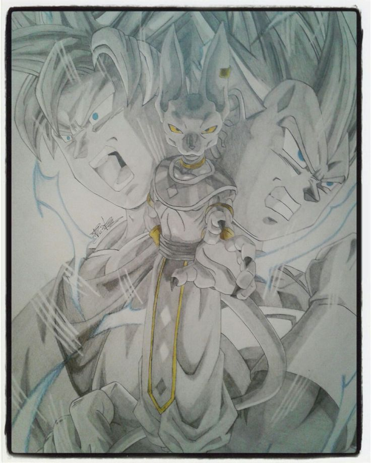 Black and white drawing of Beerus-Sama Goku and Vegeta SSJ.