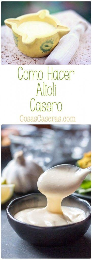 El ajoaceite o alioli es una salsa cremosa que acompaña bien a toda clase depescados, arroces, y otros platos.Os enseño como hacer alioli casero en menos de cinco minutos.