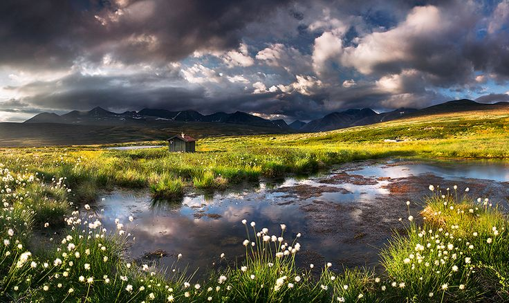 This photo was taken in Rondane National Park, Oppland. Some rain clouds formed on the end of the day which created some very dramatic sky.