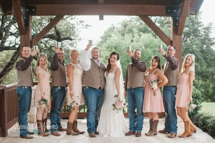 Gabriel Springs wedding, Country Wedding, Vintage wedding, austin wedding, austin wedding venue, bride, groom, yeti, pink wedding, country wedding, boots, cowboy, rustic wedding, Jennifer Weems Photography, bride, groom, wedding dress, blush bridesmaids, groomsmen gift, bridesmaid gift, groomsmen vests