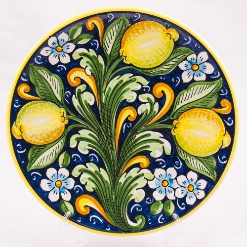 #Souvenir #Plate: #Italy. #Sicily. Three Lemons. #Caltagirone #Ceramics. Hand Made. Diameter 25 cm