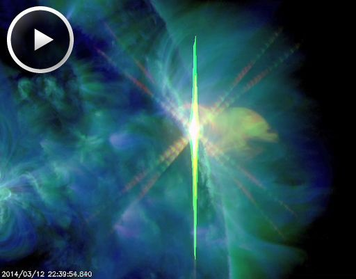 ALMOST-X FLARE: Departing sunspot AR1996 erupted on March 12th at 2234 UT, producing an M9-category blast that almost crossed into X-territory. NASA's Solar Dynamics Observatory captured the extreme ultra-violet flash.