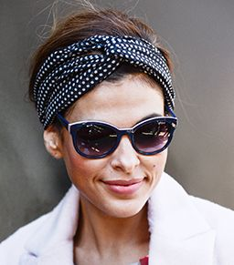 Eva Mendes's secret to tying a head scarf