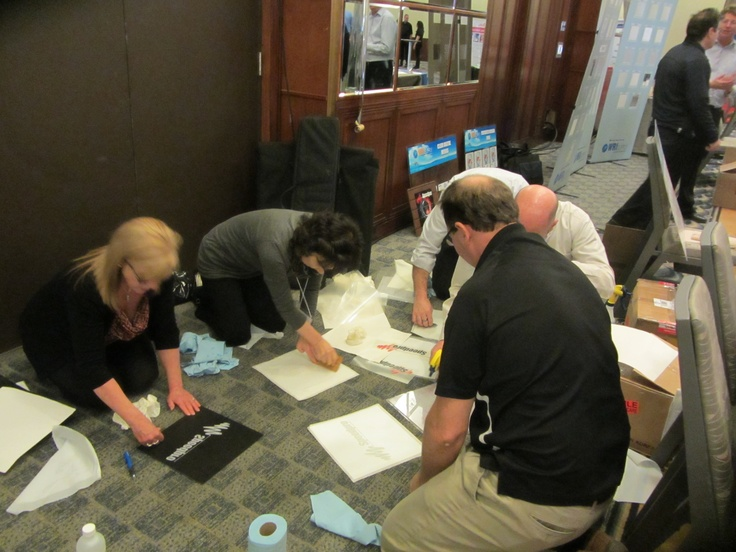 Everyone working hard at the Speedpro Trade Show Event during the Speedpro Convention!  Great time to try new products!
