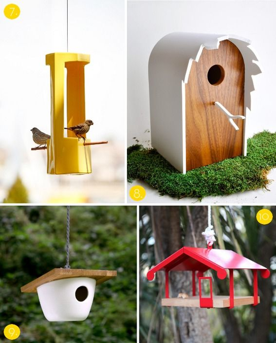 modern birdhouses and feeders