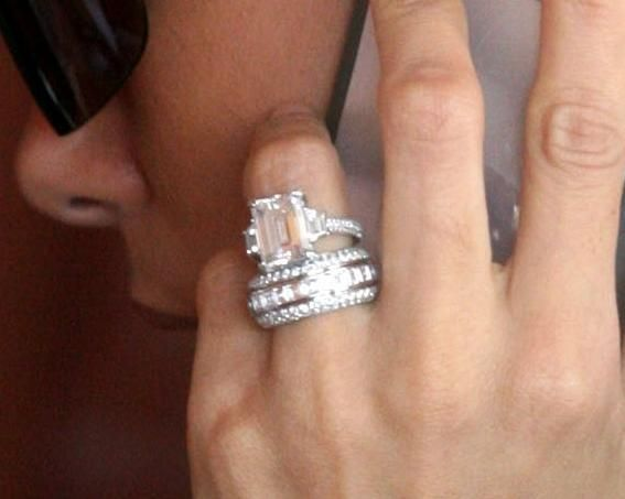 Eva Longoria Engagement Ring Diamond Emerald Cut Design By Jean Dousset